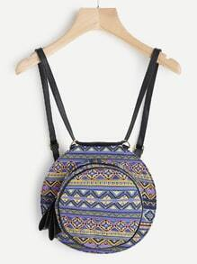 Geometric Pattern Round Backpack With Convertible Strap
