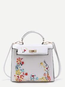 Studded & Embroidery PU Grab Bag