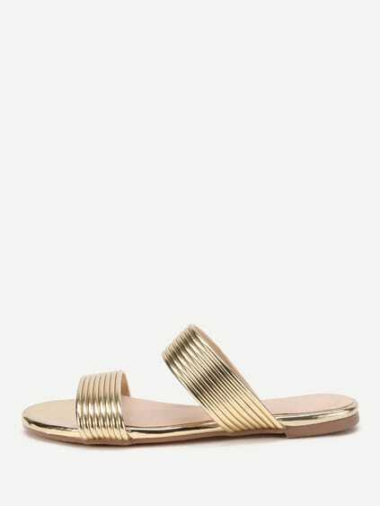Metallic Striped Slide Flat Sandals