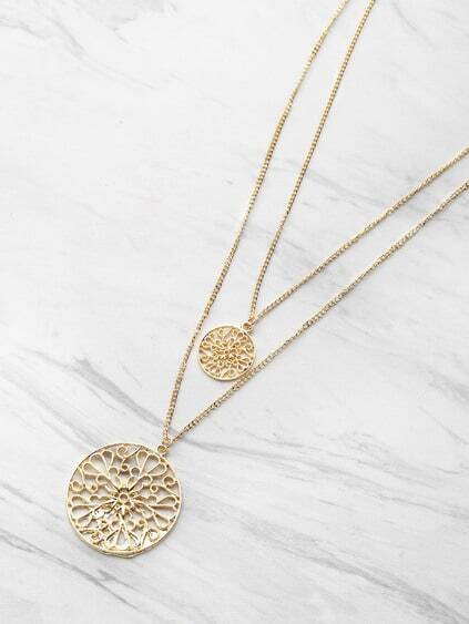Hollow Out Round Pendant Double Layered Necklace