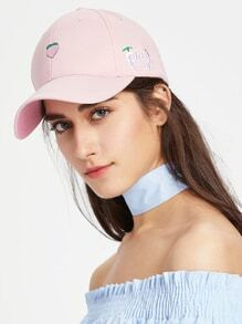 Peach Embroidery Baseball Cap