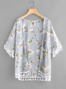 Floral Print Random Tassel Hem Kimono