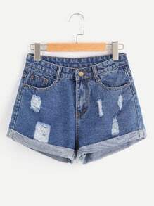 Shorts rétro avec des replis en denim