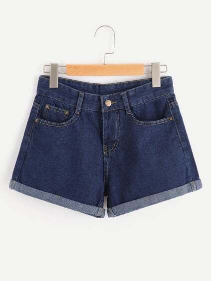 Shorts en denim con vuelta