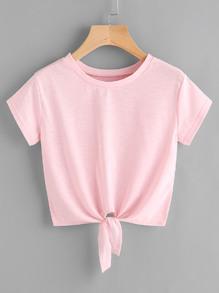 Tee-shirt en fil de laine avec un nœud