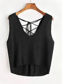 Lace Up Back Dip Hem Tank Top