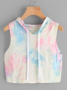 Hooded Drawstring Water Color Tank Top