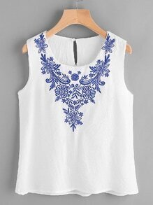 Embroidered Keyhole Back Tank Top