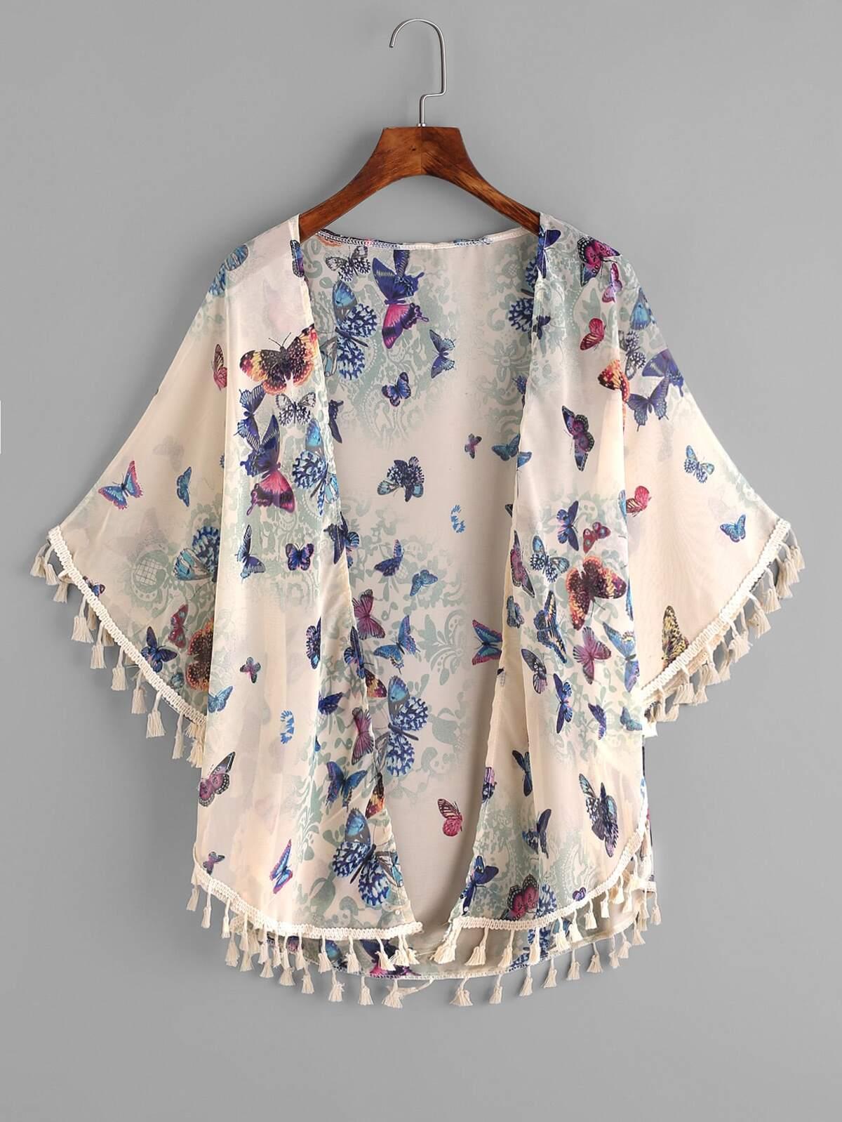 蝴蝶 圖片 鬚邊 裝飾 上衣