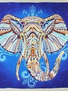 Tapis de plage bicolore imprimé d'éléphant