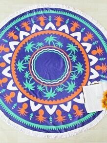 Runder Strandteppich mit Muster von Palmbaum und Ananas und Fransen