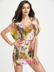 Leaf Print Cover Up Dress With Self Tie