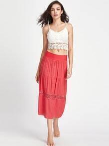 Lace Crochet Detail Midi Skirt