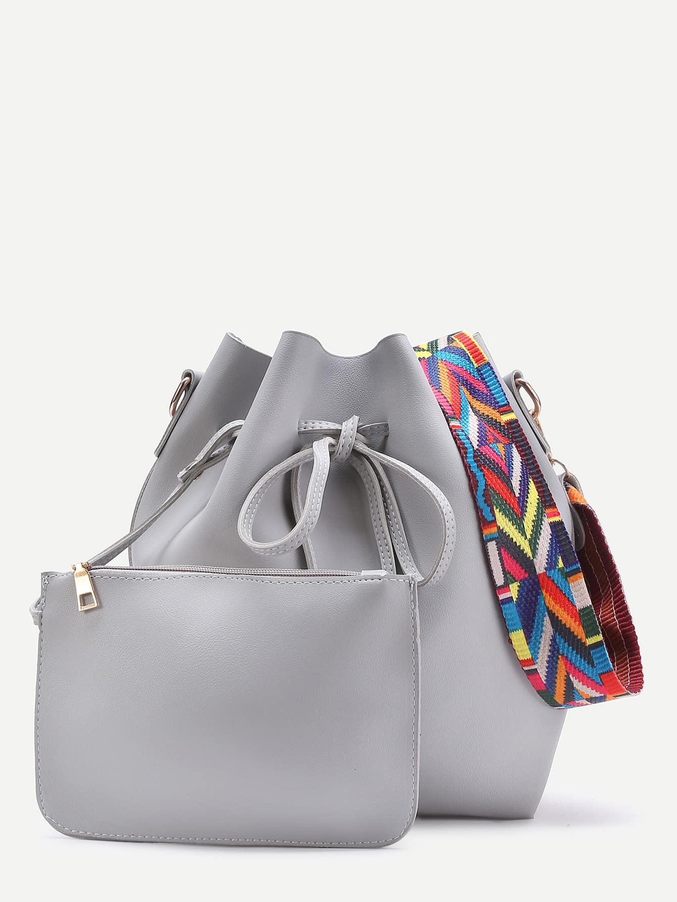 Contrast Strap Drawstring Bucket Bag With Crossbody