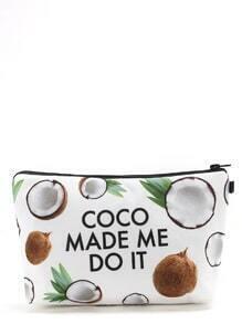 Sac cosmétique imprimé des lettres et des cocos