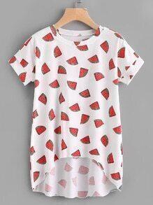 Tee-shirt trapèze imprimé des melons de l'eau