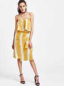 Striped Bandeau Top With Side Knot Skirt
