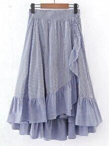 Elastic Waist Ruffle Trim A Line Skirt