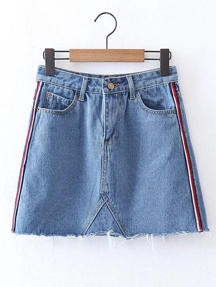 Striped Side A Line Denim Skirt