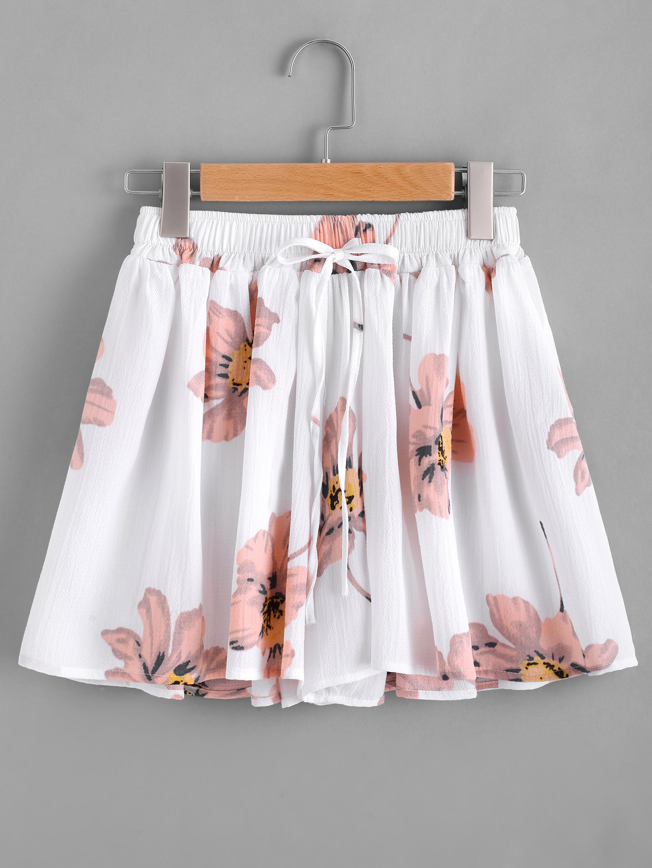 Floral Print Drawstring Skirt Shorts