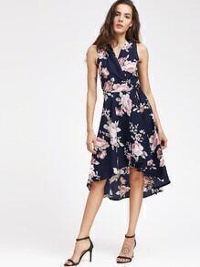 V Neckline Floral Print Dip Hem Dress