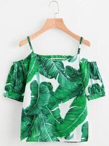Palm Leaf Print Cold Shoulder Top
