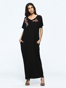 Rose Appliques Pockets Full Length Dress