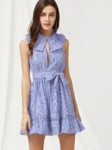 Pinstripe Frill Trim Open Back Self Tie Dress