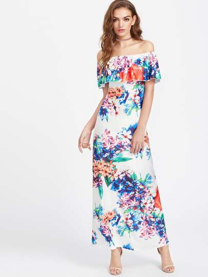 Flounce Layered Neckline Calico Print Maxi Dress