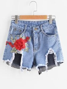 Contrast Fishnet Mesh Appliques Frayed Hem Denim Shorts
