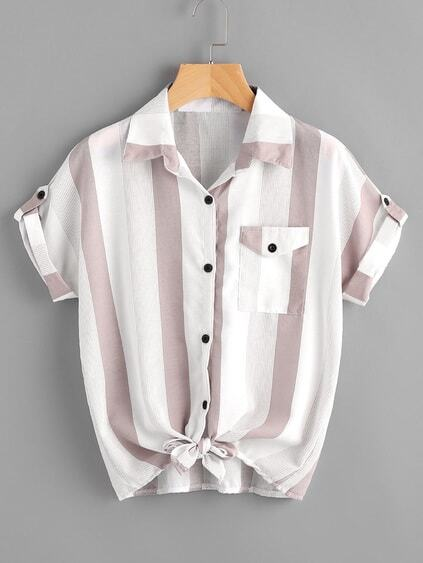 Contrast Striped Roll Tab Sleeve Knotted Hem Shirt
