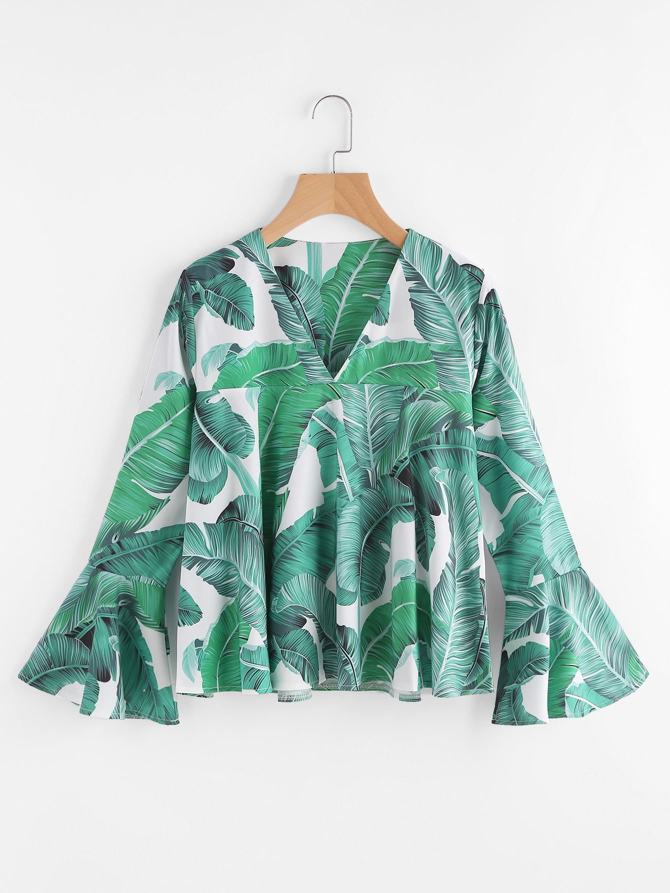Palm Leaf Print Bell Sleeve Blouse