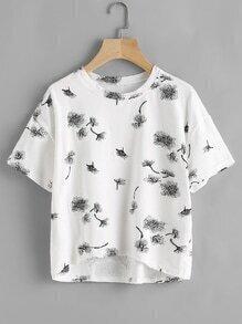 Tee-shirt trapèze imprimé des pissenlits