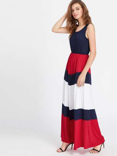 Color Block Full Length Tank Dress