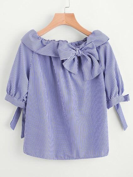 Fold Over Neckline Pinstripe Bow Tie Detailed Top