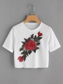 T-Shirt mit Rose Applikation