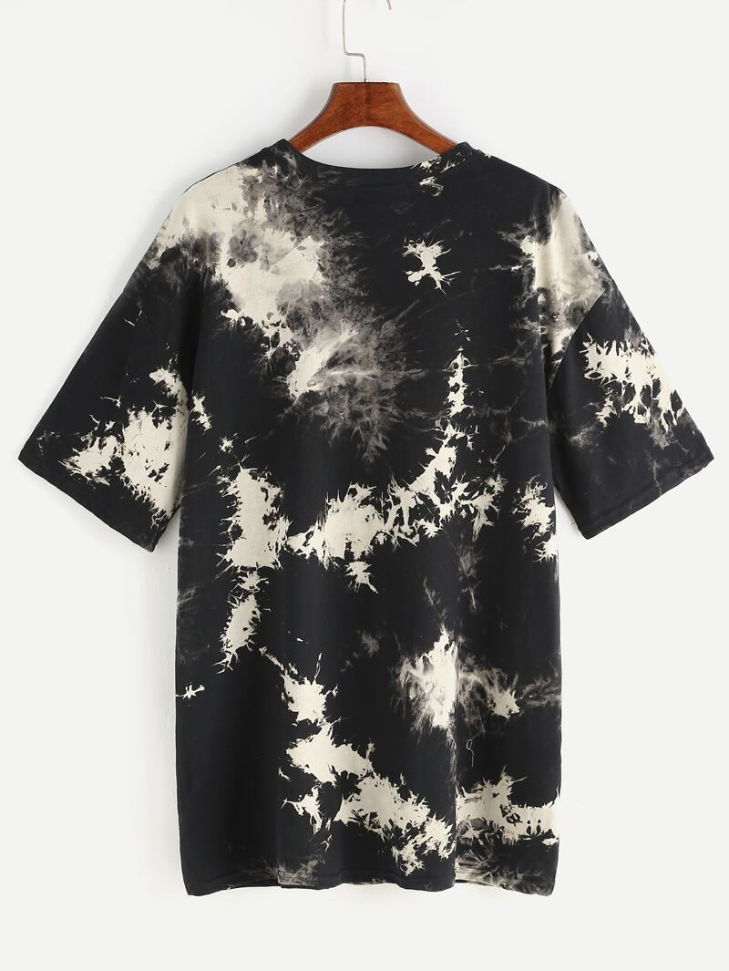 Space Dye Drop Shoulder Tee Dress, Black and white