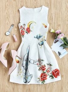 Roses Print Embossed Fit & Flare Dress