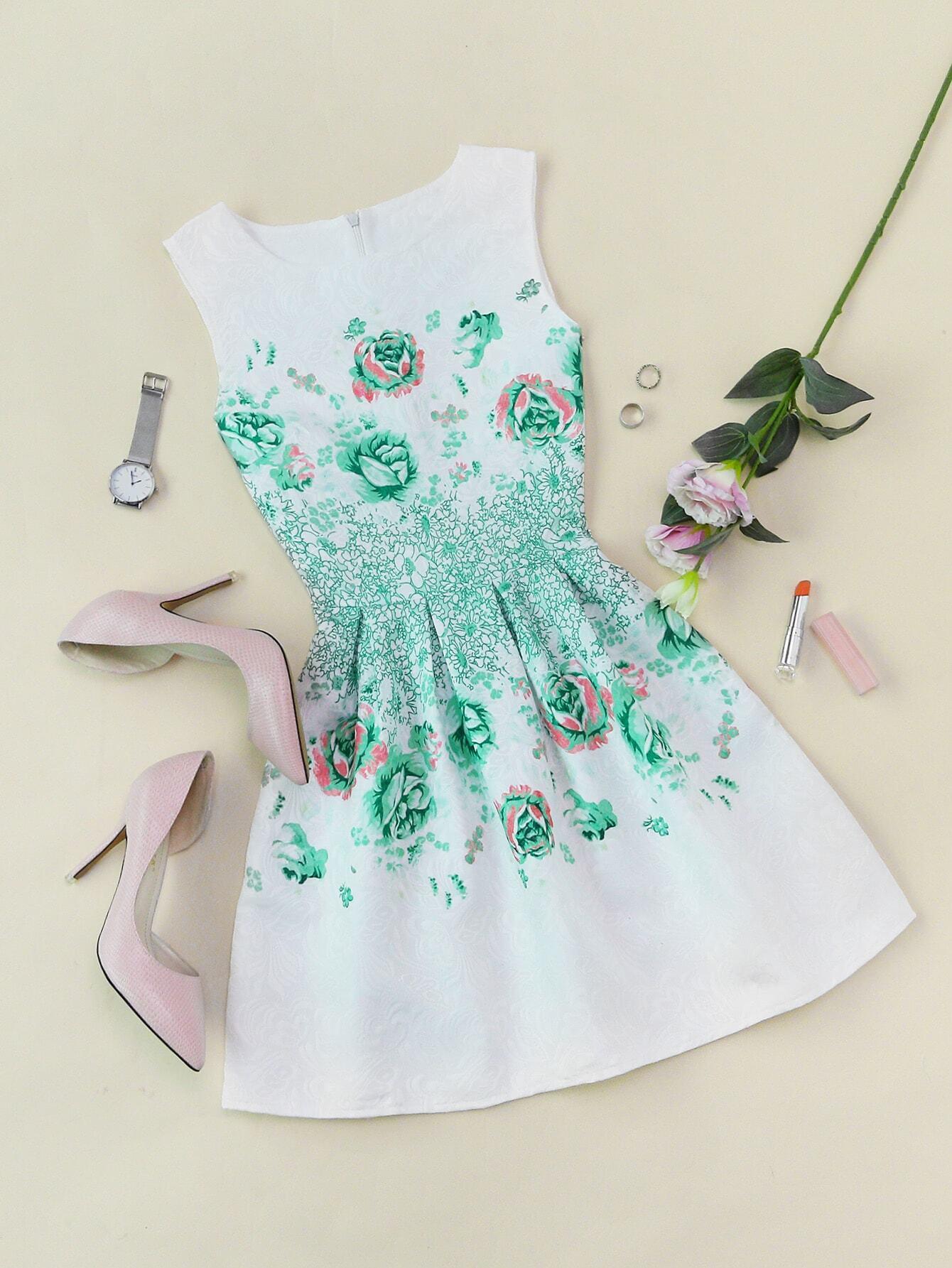 Floral Print Zipper Back Fit & Flare Dress