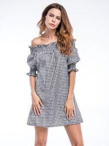 Bardot Gingham Frill Trim Dress
