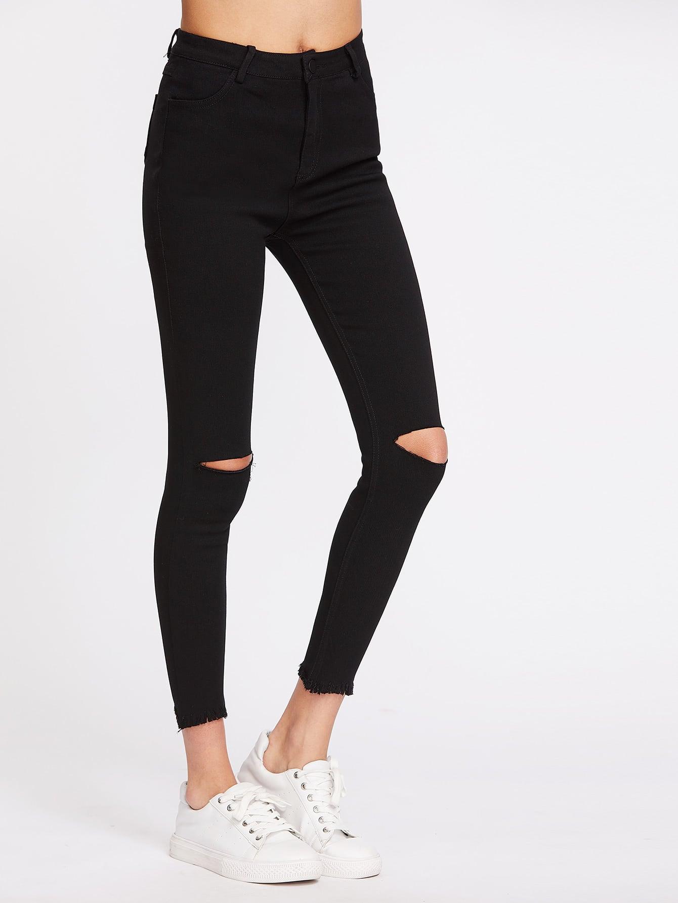 Knee Cut Frayed Hem Skinny Jeans