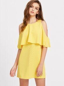 Open Shoulder Ruffle Trim Tunic Dress