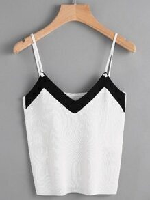 Contrast Trim Knit Cami Top