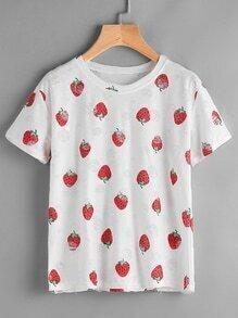 Tee-shirt imprimé des fraises