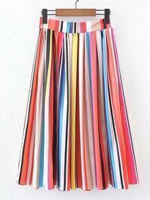 Rainbow Stripe A Line Skirt