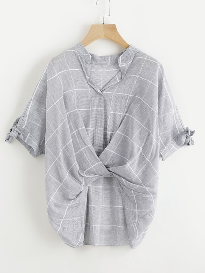 Window Pane Plaid Tie Sleeve Drape Front Blouse