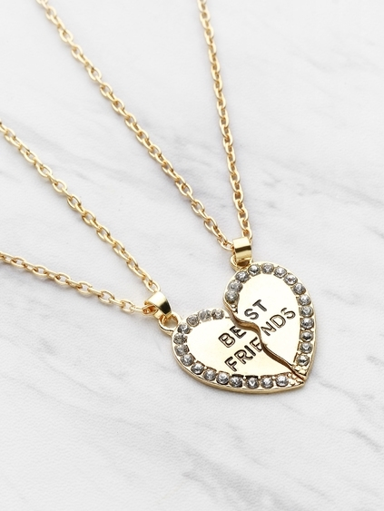 Rhinestone Embellished Heart Shaped Friendship Necklace Set