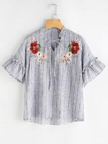Fluted Sleeve Floral Embroidered Stripe Dip Hem Blouse