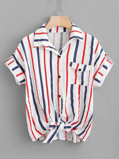 Striped Knot Front Cuffed Shirt With Chest Pocket