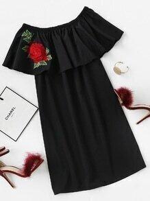 Flounce Layered Neckline Rose Patch Dress